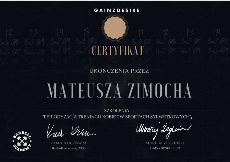 certyfikat Mateusz Zimoch